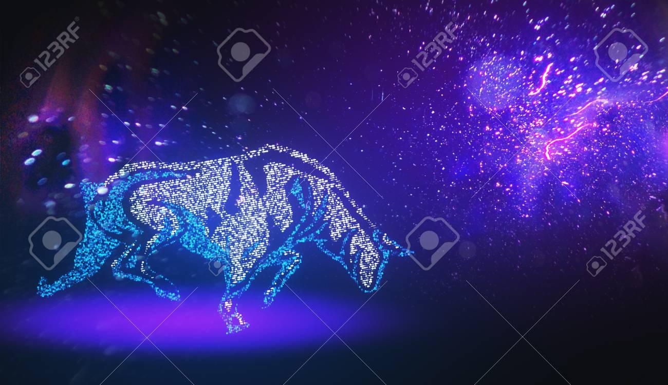 Creative Purple Digital Bull Taurus Wallpaper Constellation