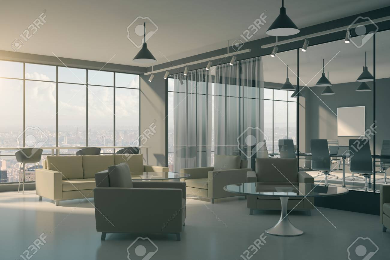 Contemporary office lobby interior with furniture and waiting..
