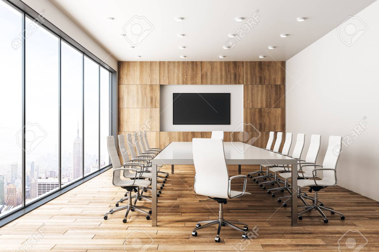 modern wooden meeting room interior with empty banner and panoramic rh 123rf com