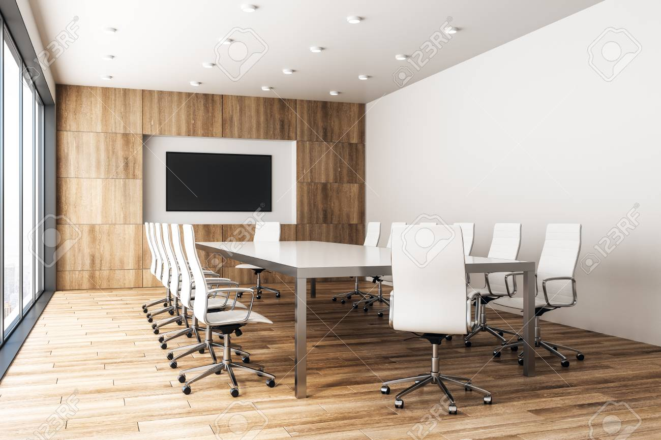 contemporary wooden meeting room interior with empty poster and rh 123rf com