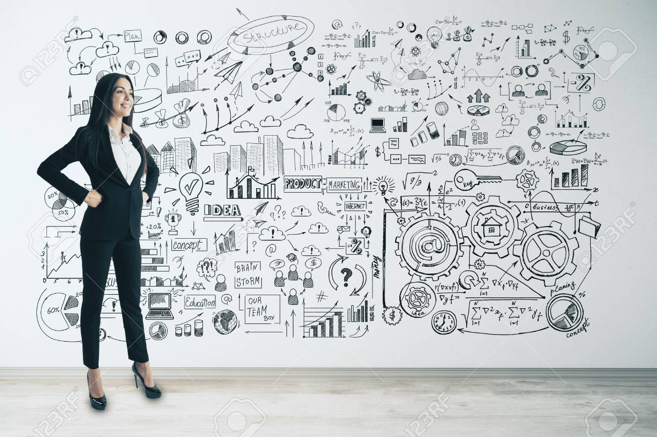 Management and finance concept. Attractive young european businesswoman with business sketch on concrete wall background - 108173276