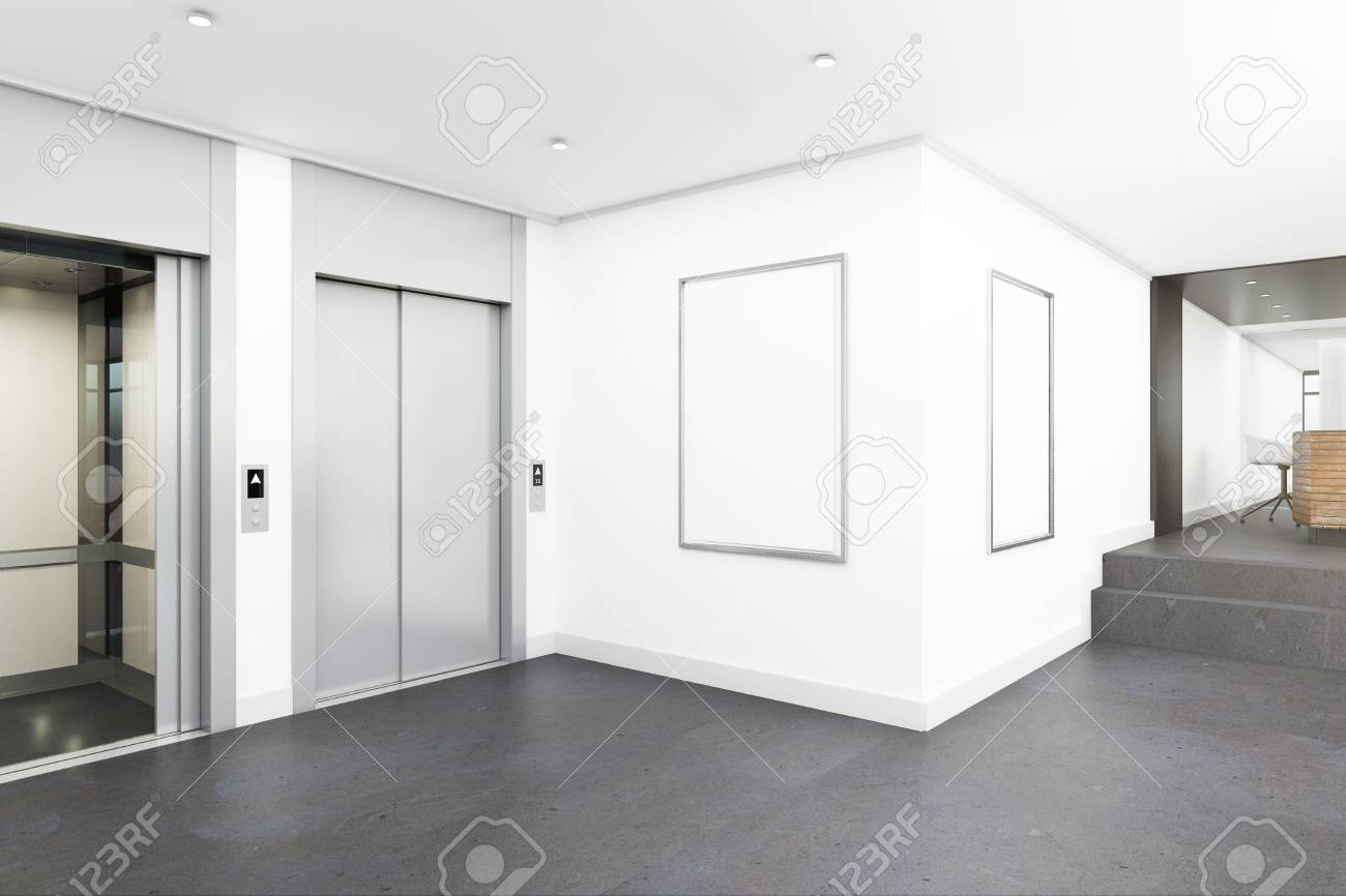 Modern office lobby interior with elevators and empty poster...