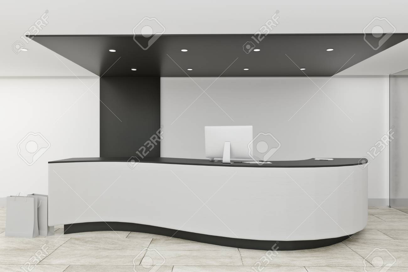 Stylish office lobby interior with reception desk. Entrance concept