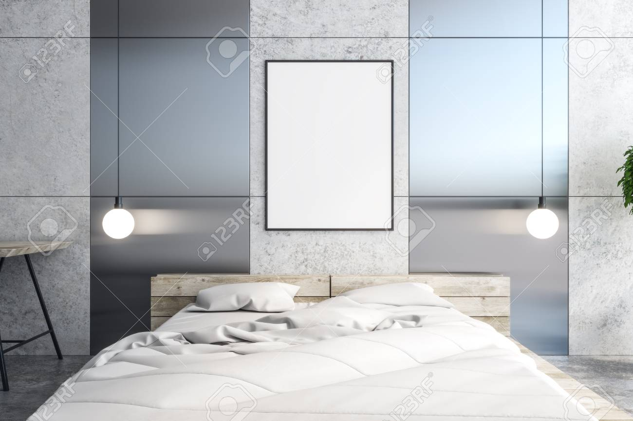 Modern bedroom interior with empty banner, furniture and decorative..
