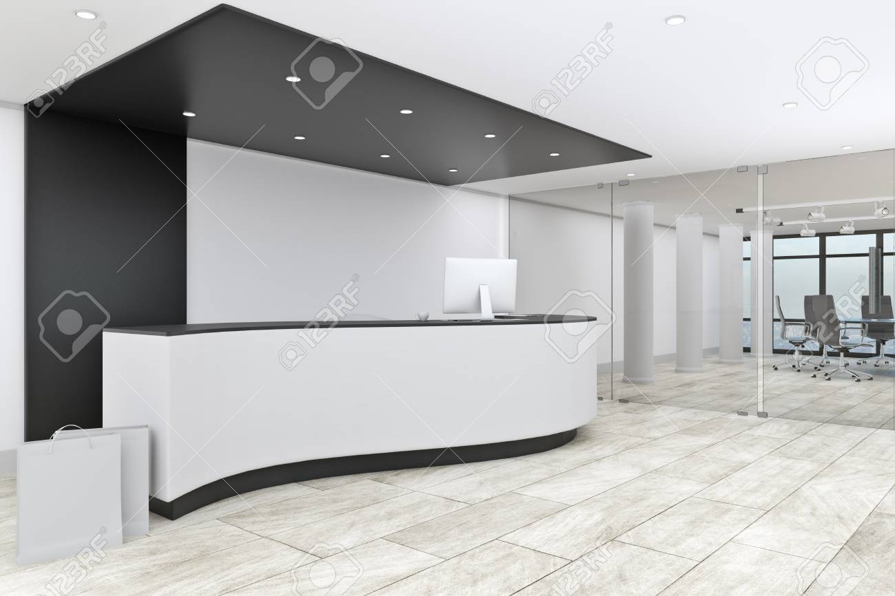 Modern office lobby Minimalist Modern Office Lobby Interior With Reception Desk Entrance Concept 3d Rendering Stock Photo 123rfcom Modern Office Lobby Interior With Reception Desk Entrance Concept