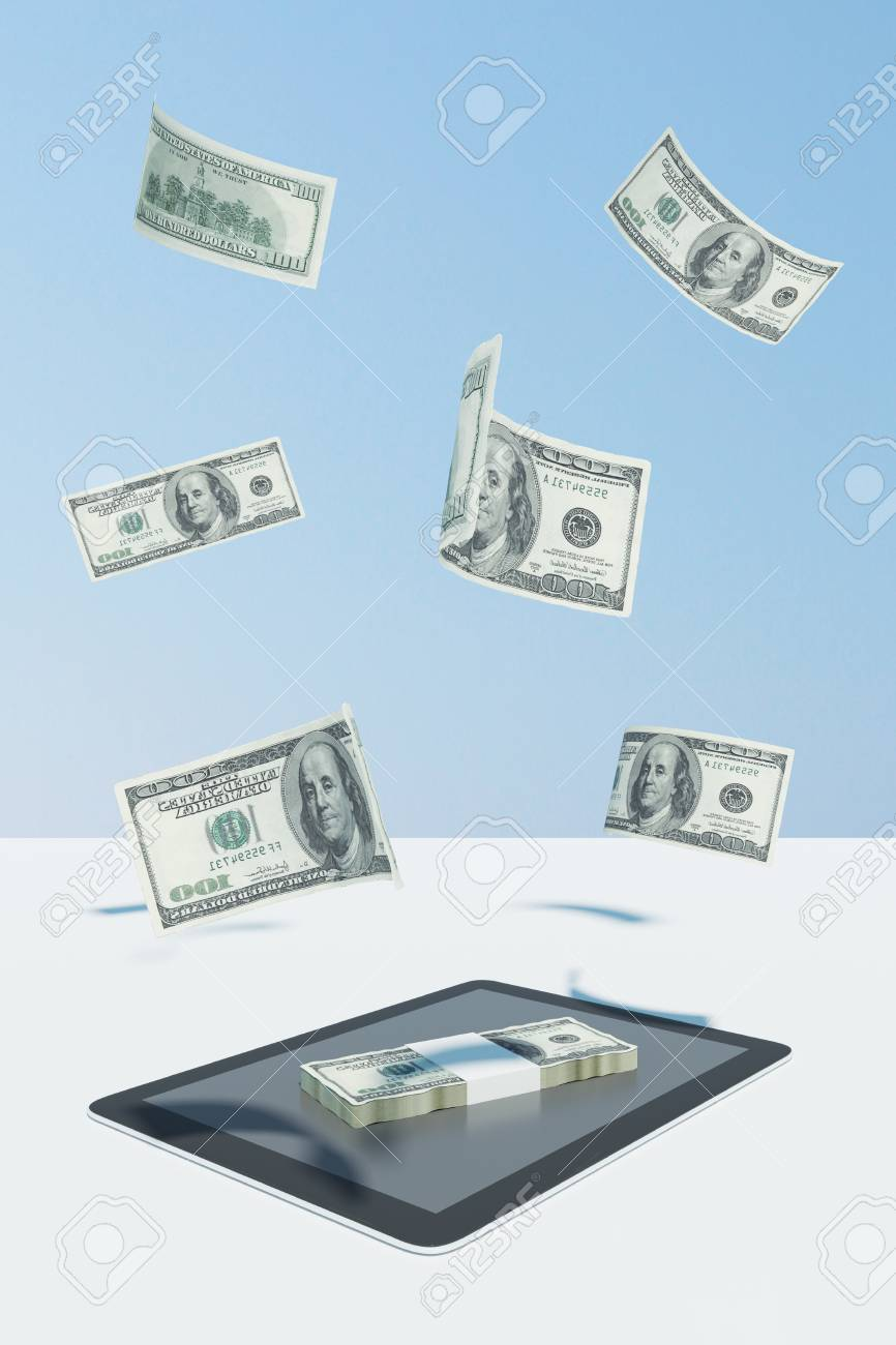 Online payment and money concept  Tablet with abstract dollar