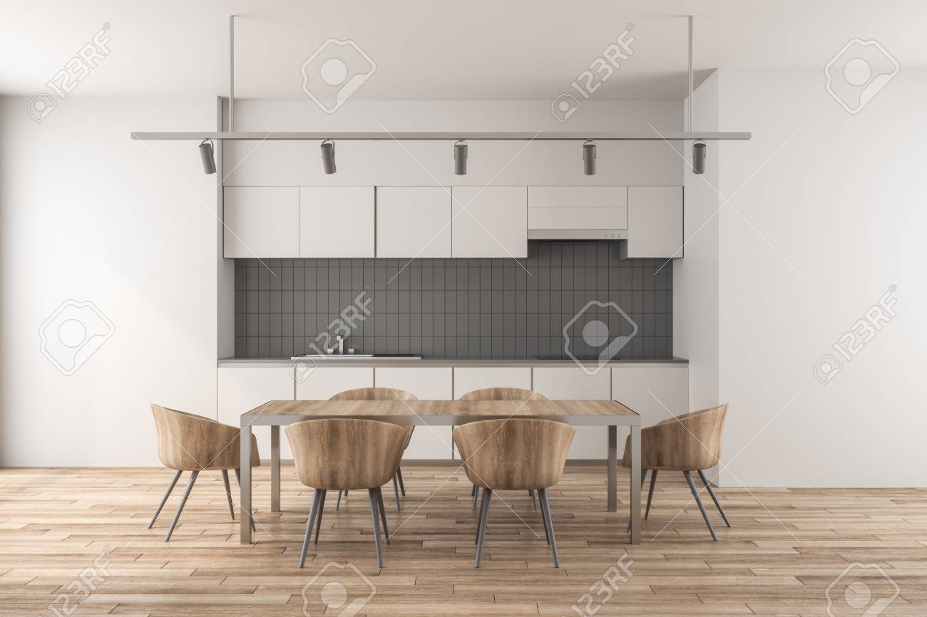 Contemporary kitchen interior with dining table. 3D Rendering