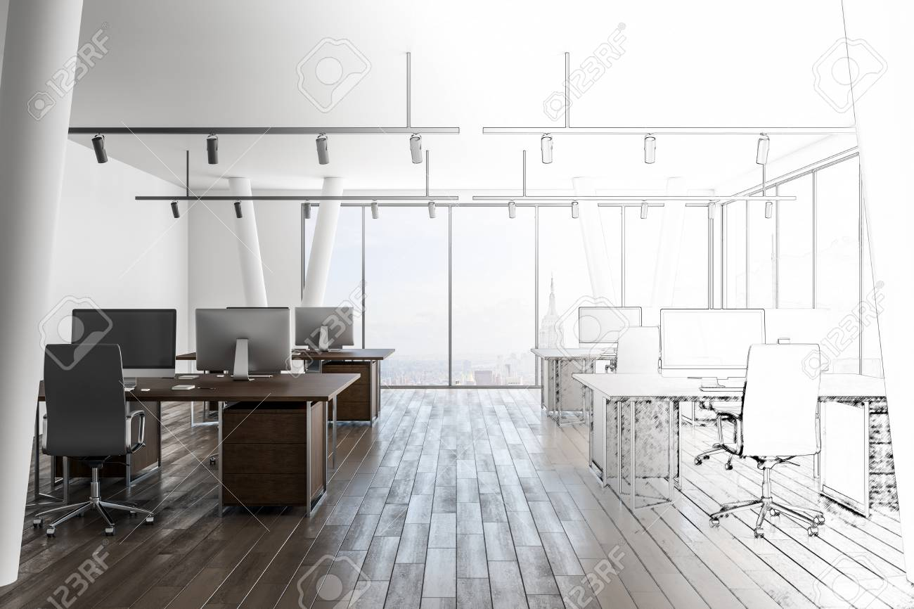 Hand Drawn Office Interior With City View Design And Engineering