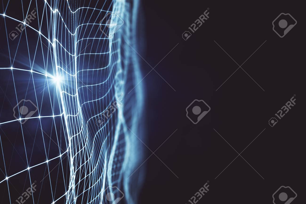 Abstract glowing grid on dark wallpaper  Web design concept