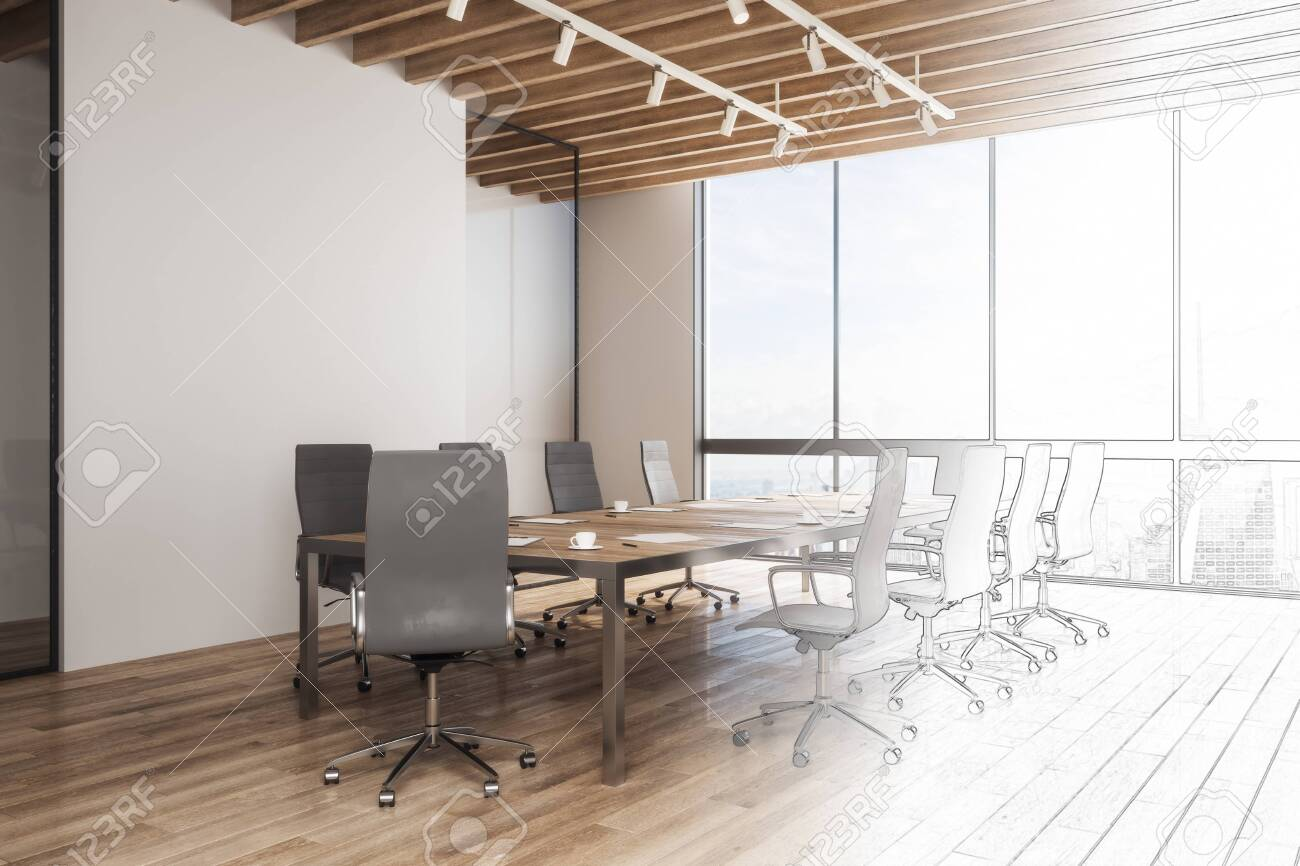 Hand Drawn Meeting Room Interior Design Architecture And Project Stock Photo Picture And Royalty Free Image Image 116673945