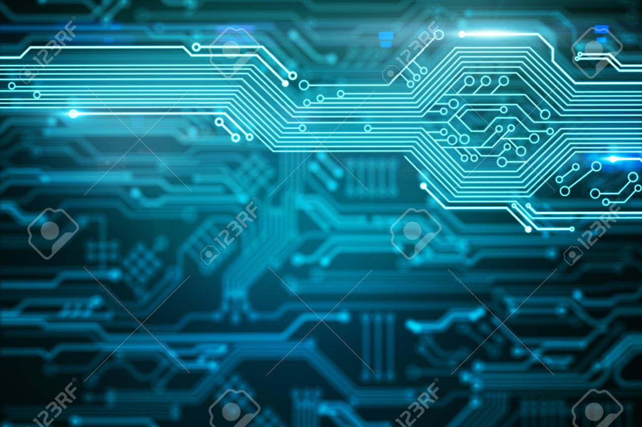 Abstract Blurry Circuit Wallpaper With Lines Computing And Engineering