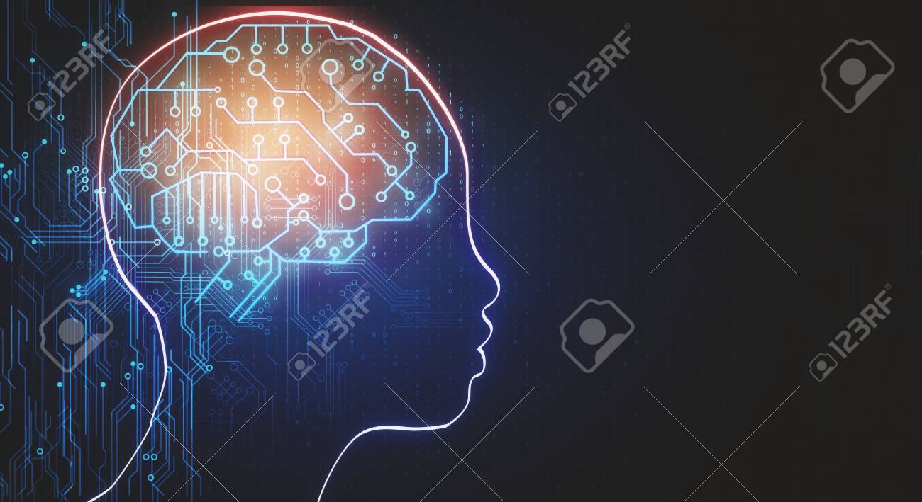Abstract head outline with circuit brain. Artificial intelligence and web concept. 3D Rendering - 117593022