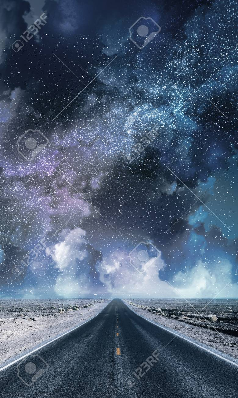 Creative Road With Cloudy Night Sky Background Freedom And Goal