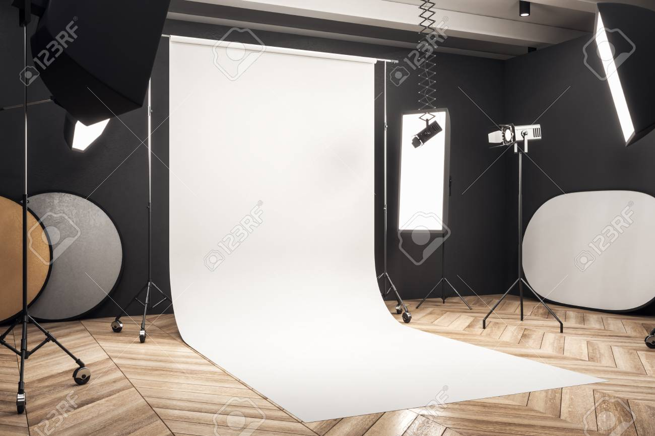 Side View Of Modern Photo Studio Interior With White Background Stock Photo Picture And Royalty Free Image Image 117610224