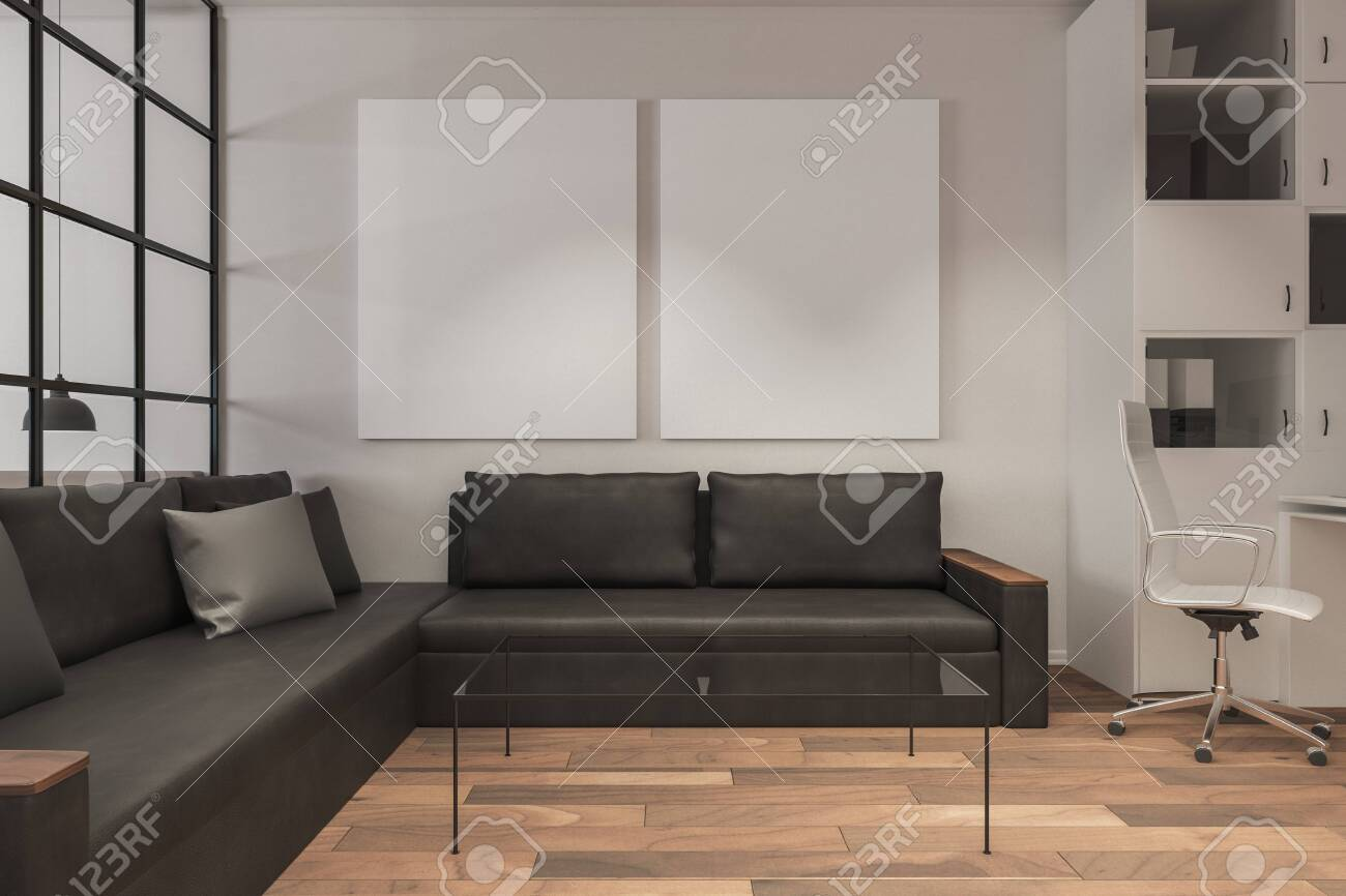 Modern Living Room Interior With Empty Banner Leather Couch