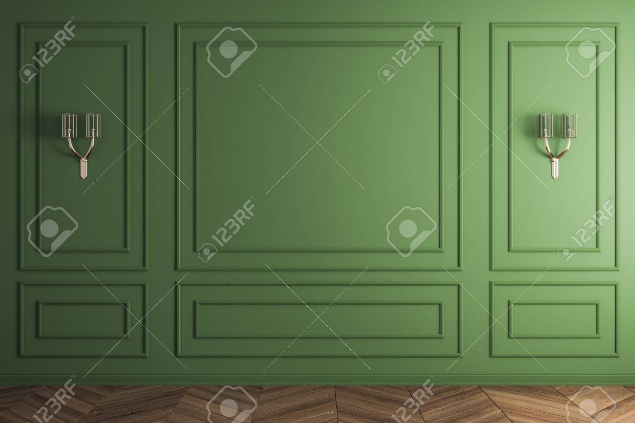 Classic green interior with blank wall and lamps. Mock up, 3D Rendering - 118786928