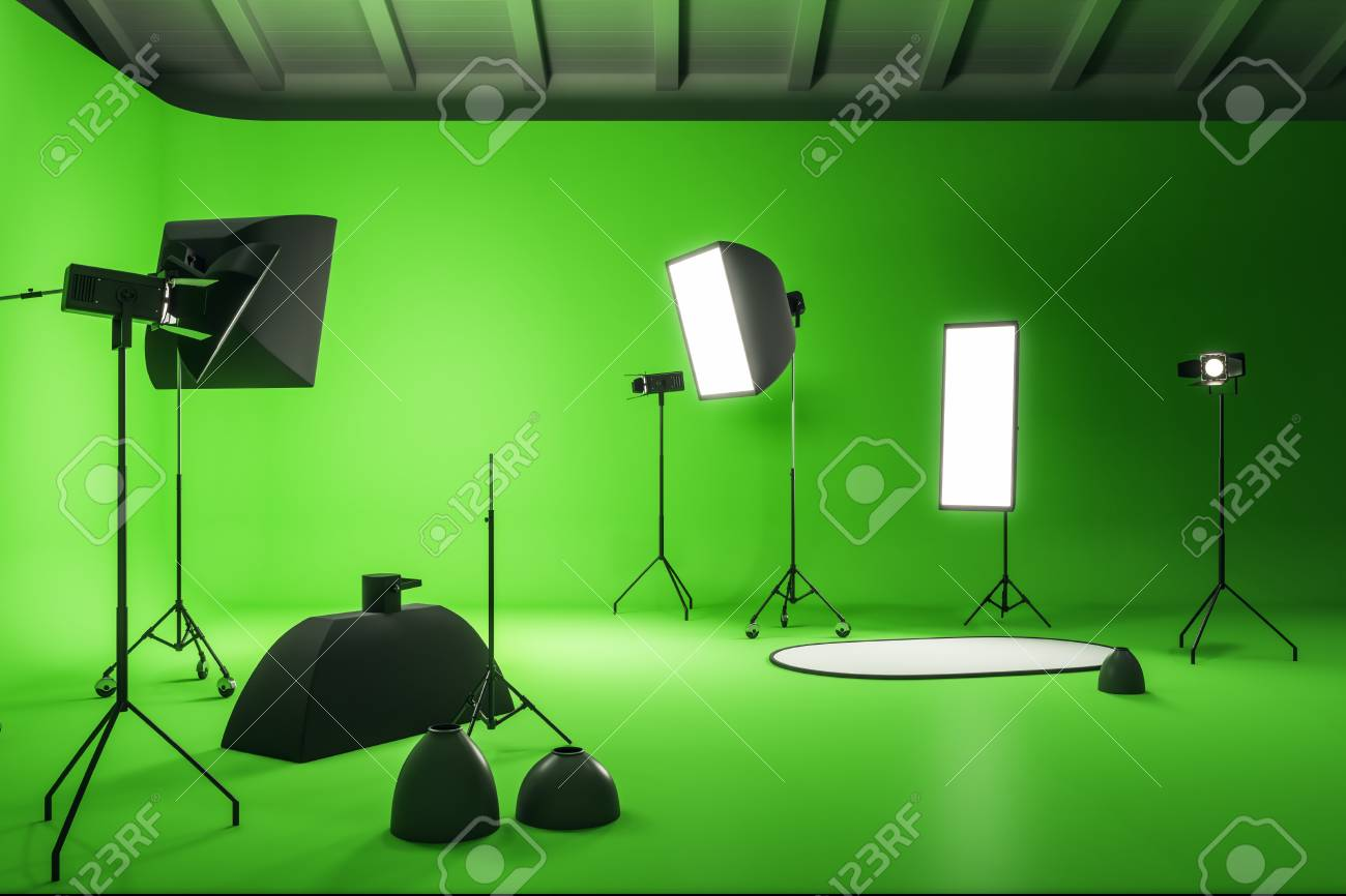 Creative Green Photo Studio Interior With Professional Equipment Stock Photo Picture And Royalty Free Image Image 118785982