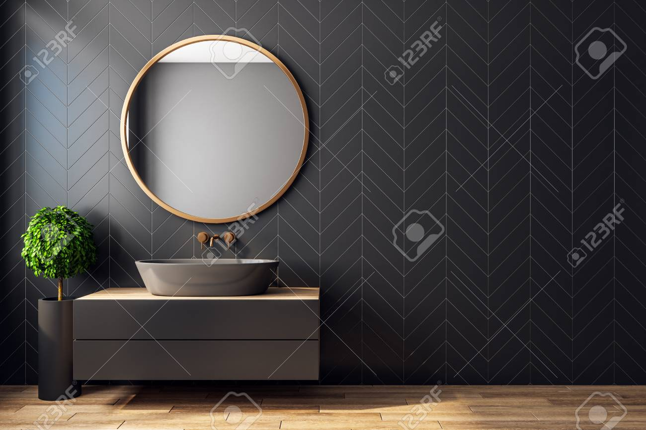 Modern black bathroom interior with decorative tree, sink, round mirror, sunlight and copy space. 3D Rendering - 118912865