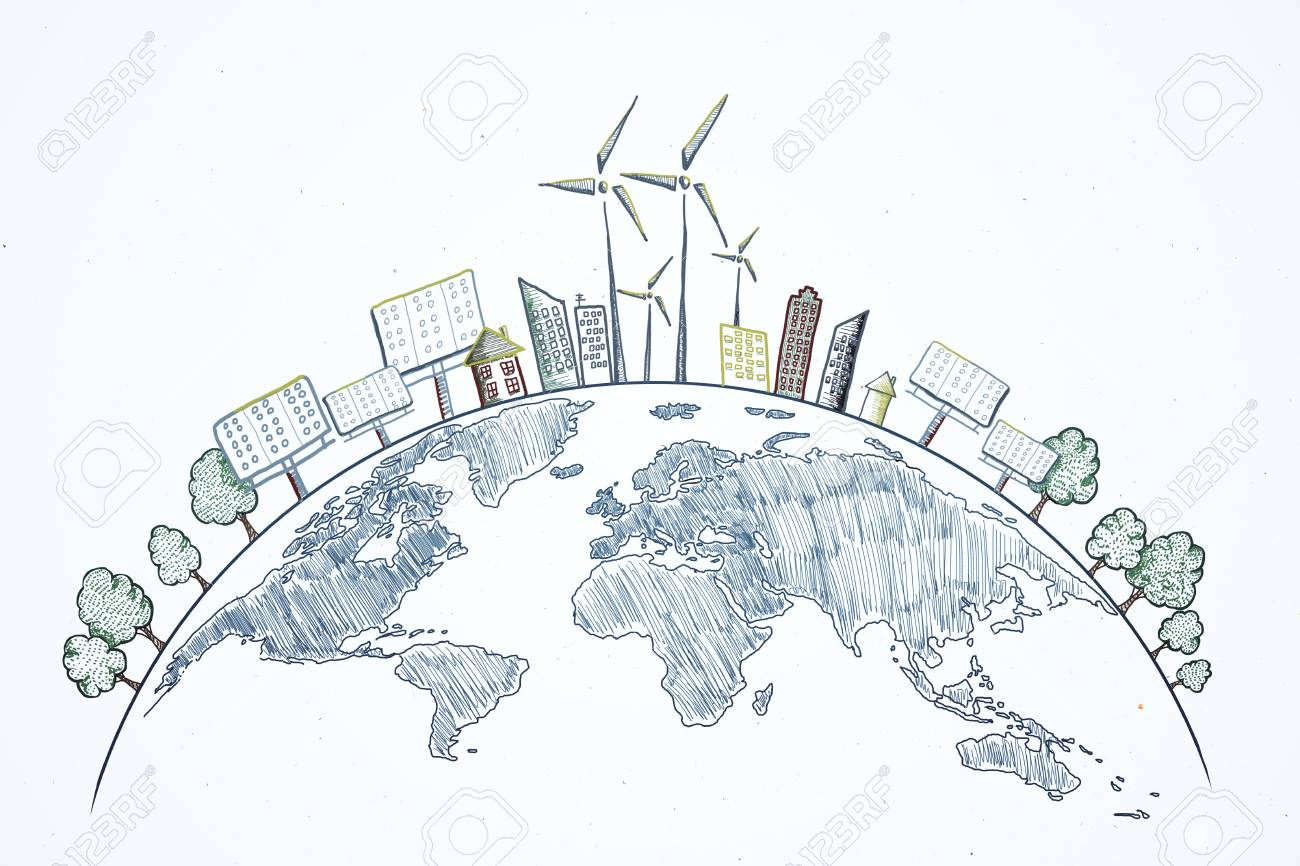 Creative eco globe sketch on white background. Eco-friendly and care concept - 119372474