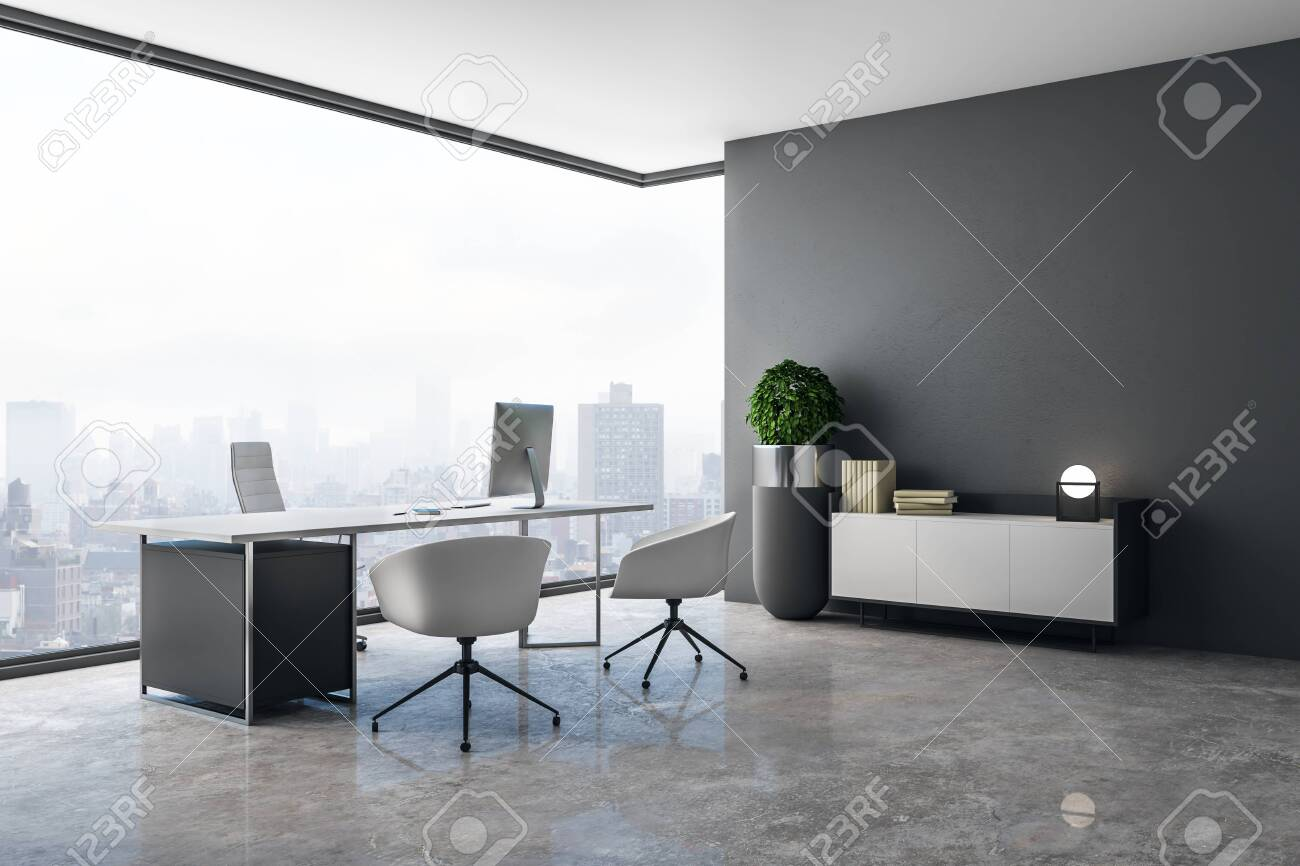 Clean office interior with panoramic city view, daylight, concrete floor and workplace. 3D Rendering - 119868908