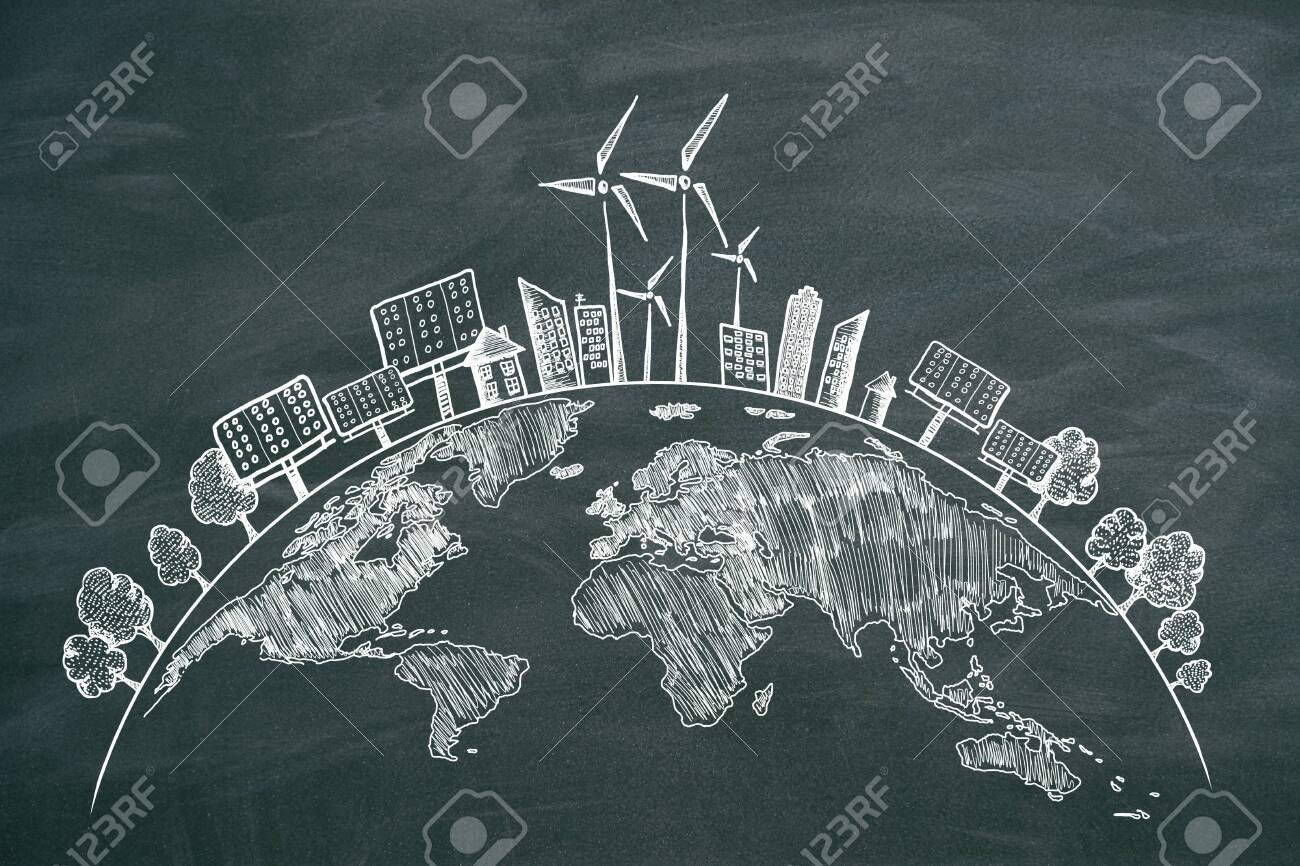 Creative eco globe sketch on chalkboard background. Eco-friendly and environment concept - 119868932