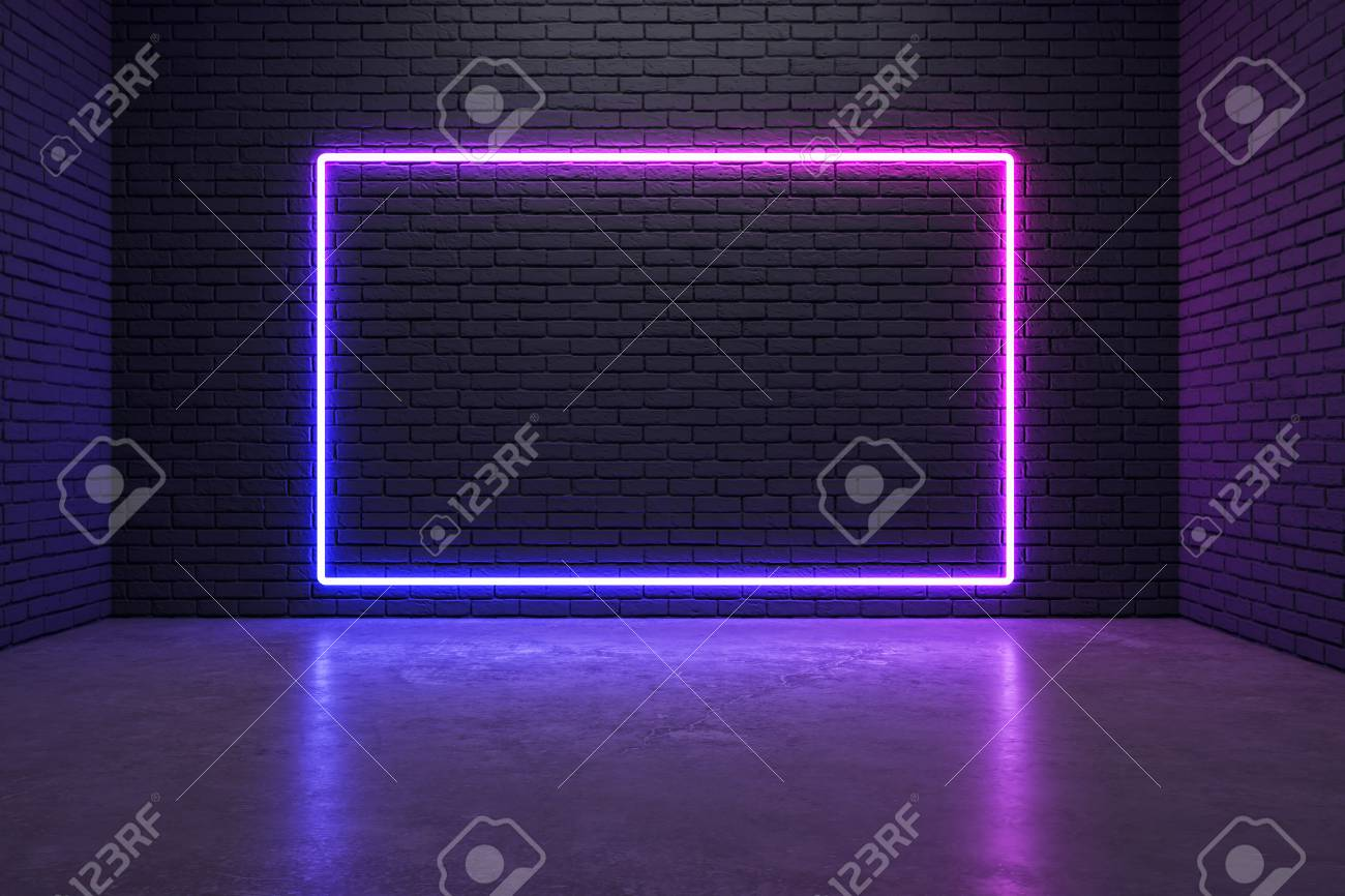 Glowing neon poster on brick wall background. Style and design concept. Mock up, 3D Rendering - 120798399