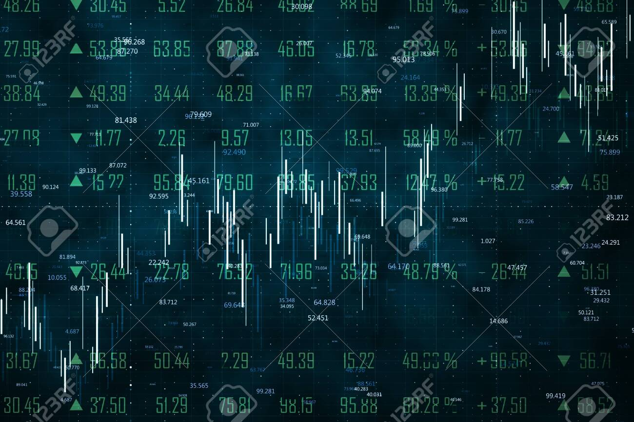Trade and stats concept. Creative forex chart wallpaper with lines. 3D Rendering - 120797567