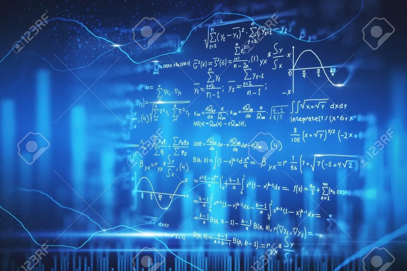 Creative blurry digital mathematical formulas wallpaper. Complex algorithm concept. 3D Rendering - 120798501
