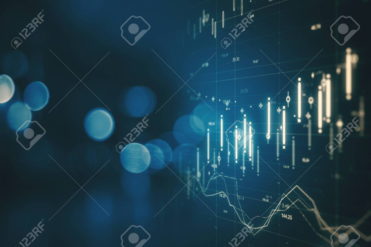 Creative forex chart on blue bokeh background. Finance and invest concept. Double exposure - 121172544