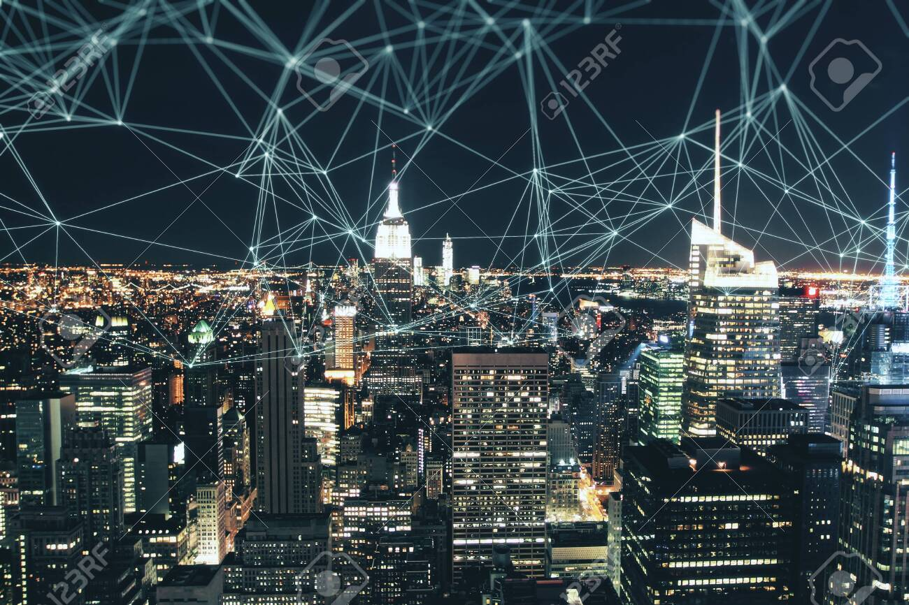 Night City Skyline Wallpaper With Polygonal Connections Social Stock Photo Picture And Royalty Free Image Image 121775101