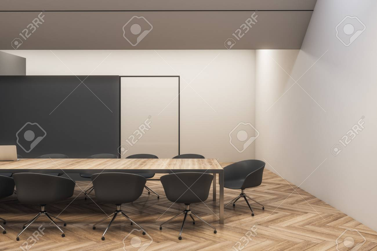 Contemporary Black Wooden Meeting Room Interior With Furniture