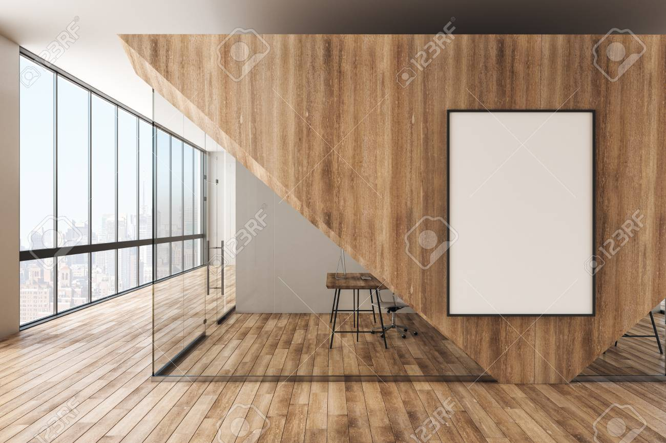 Modern wooden office interior with empty banner, furniture and..
