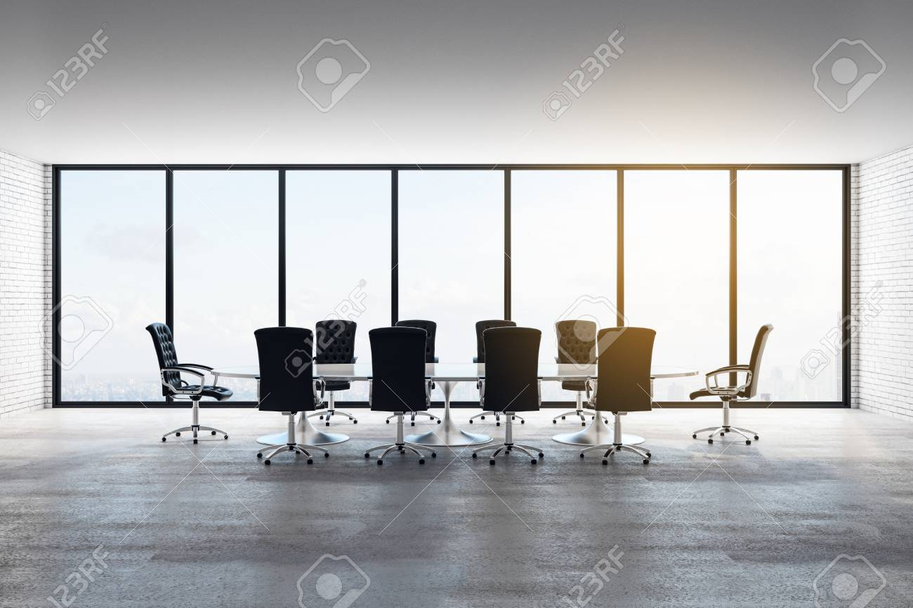 Modern concrete meeting room interior with panoramic city view, furniture and daylight. 3D Rendering - 126502961