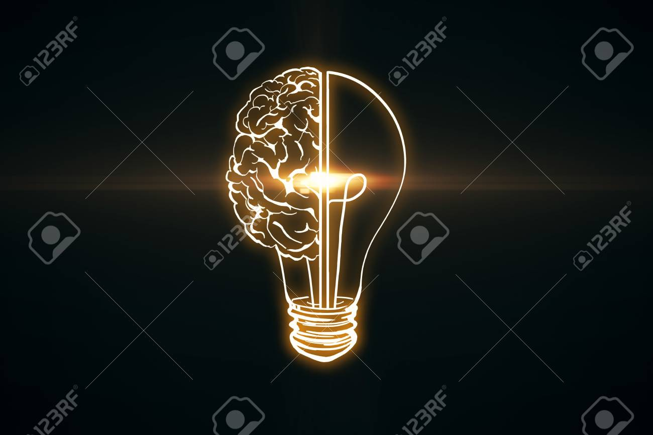 Creative glowing lamp brain on black wallpaper. Innovation and AI concept. 3D Rendering - 126044580