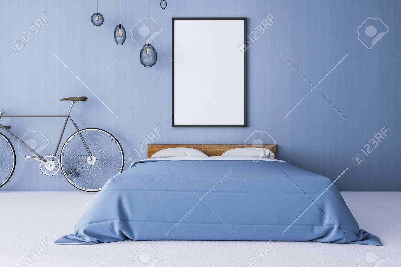 Contemporary bedroom interior with bicycle, empty poster on blue..