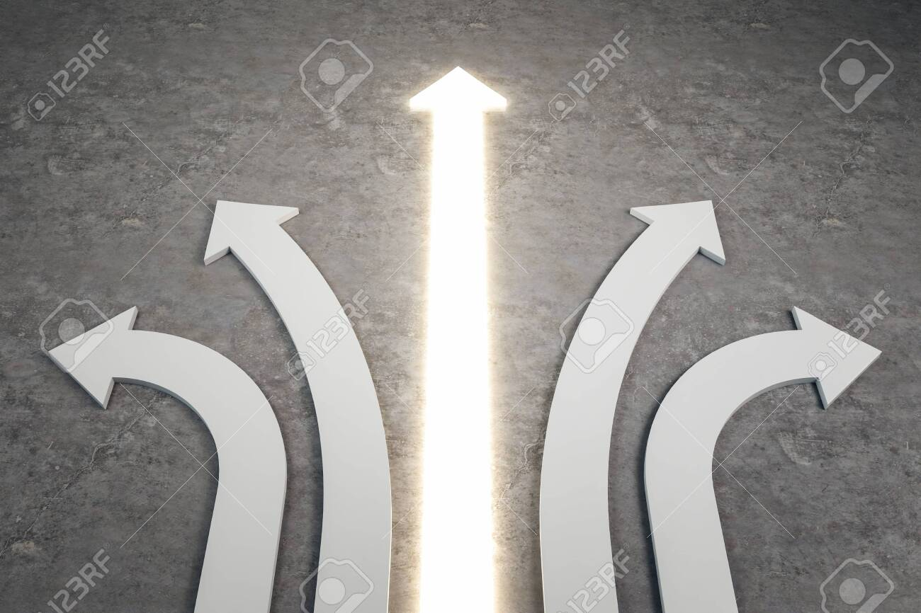 Abstract white and illuminated arrows on concrete background. Different direction and choice concept. 3D Rendering - 124293417