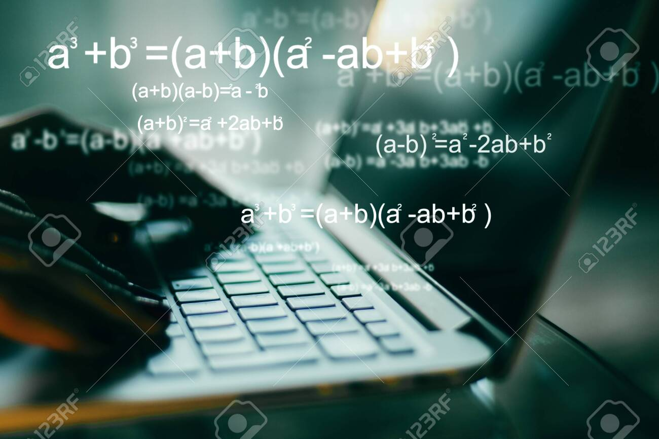 Programming and algorithm concept. Close up of hands using blurry laptop with mathematical formulas. Double exposure - 126044409