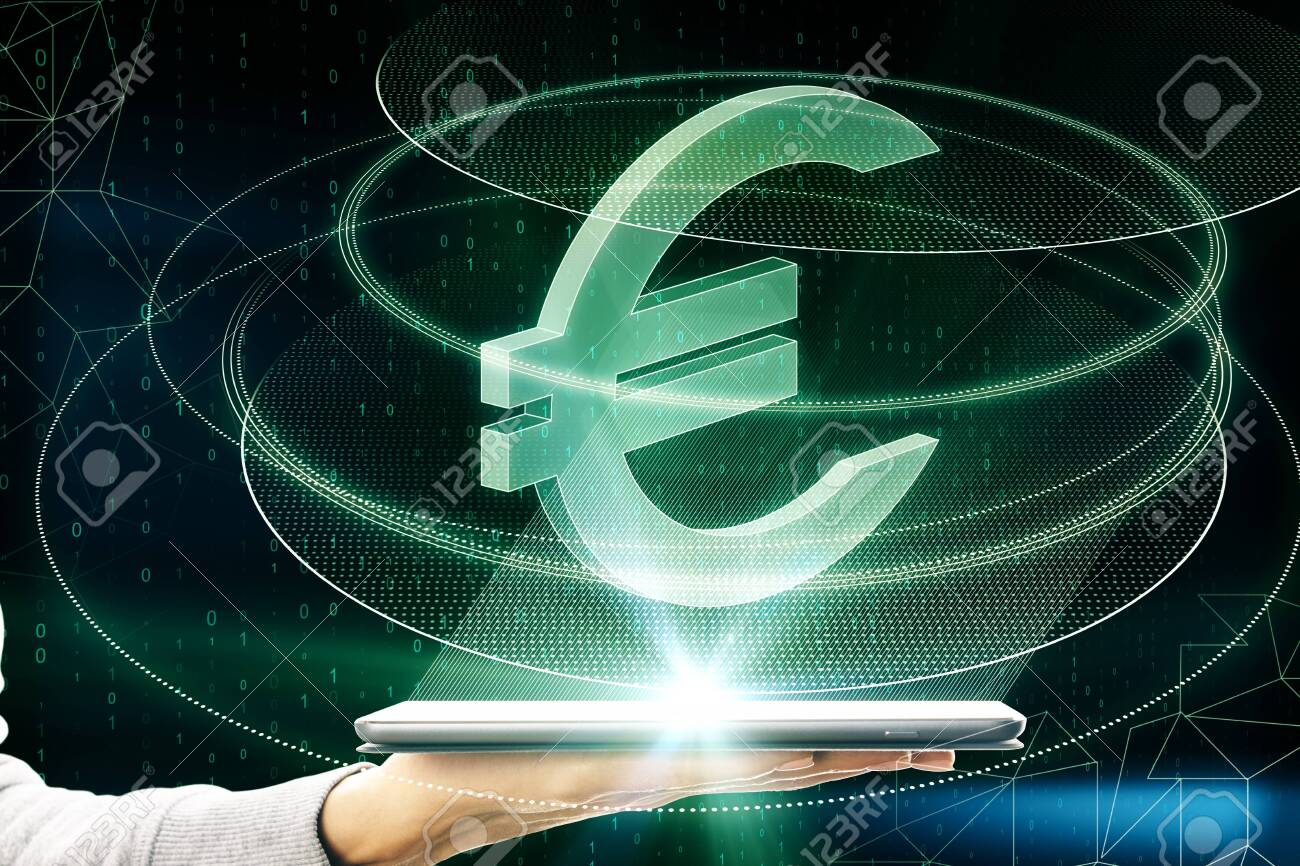 Hand holding smartphone with creative glowing green euro sign icon on dark background. Money, technology, e-commerce and cryptocurrency concept. Multiexposure - 127147756