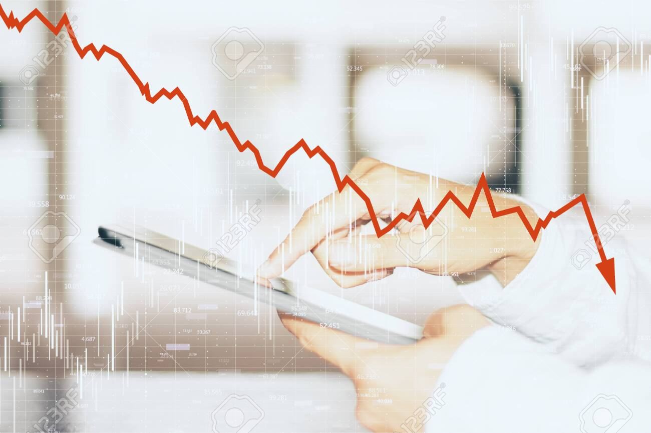 Close up and side view of hands using smartphone with downward red chart arrow. Decrease, internet and trade concept. Multiexposure - 127134713