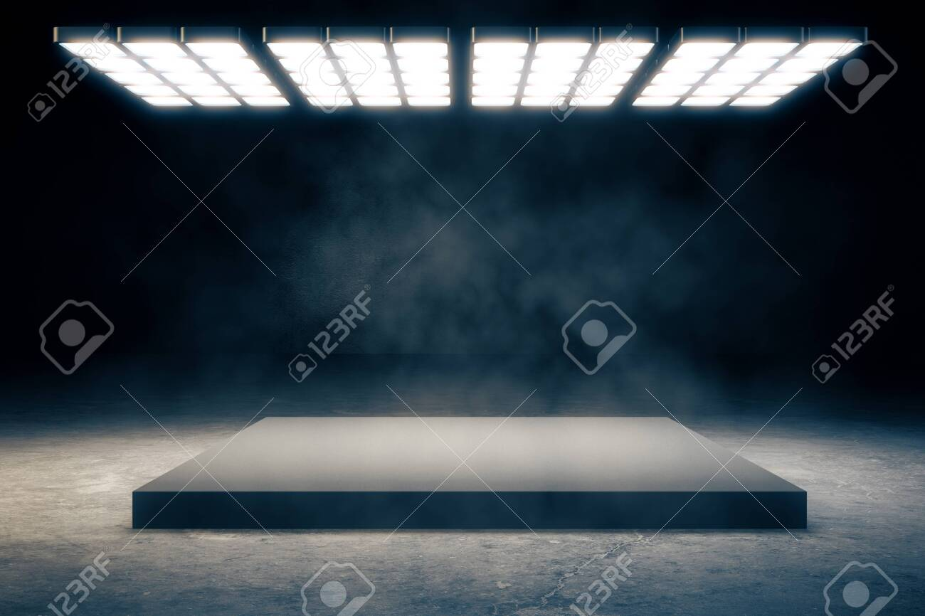 Dark smoky interior with copy space and bright ceiling lamp. Exhibition concept. 3D Rendering - 127974655