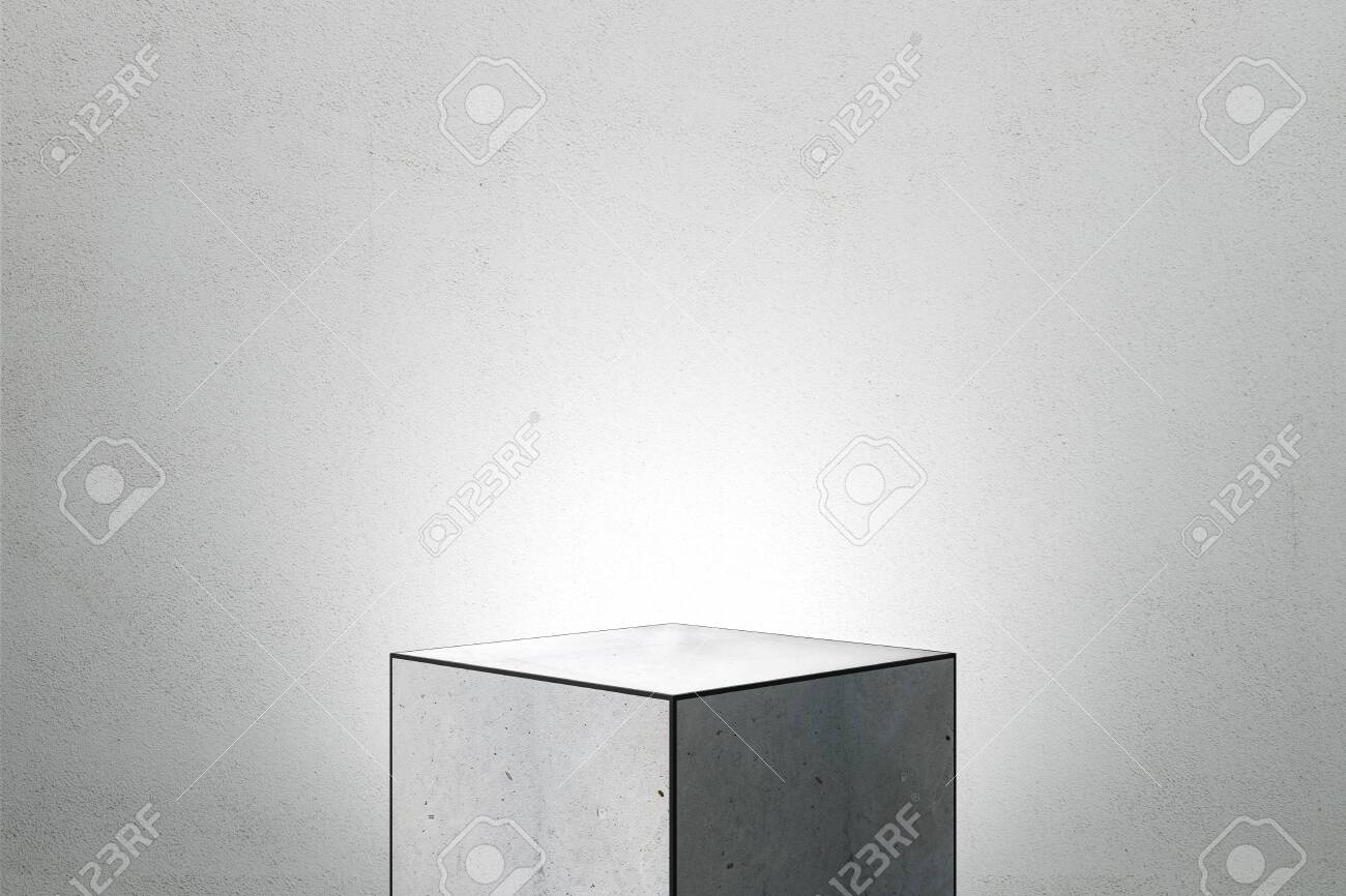 Abstract square finger pedestal on grey background. Product and presentation concept. Copy space. 3D Rendering - 128291592