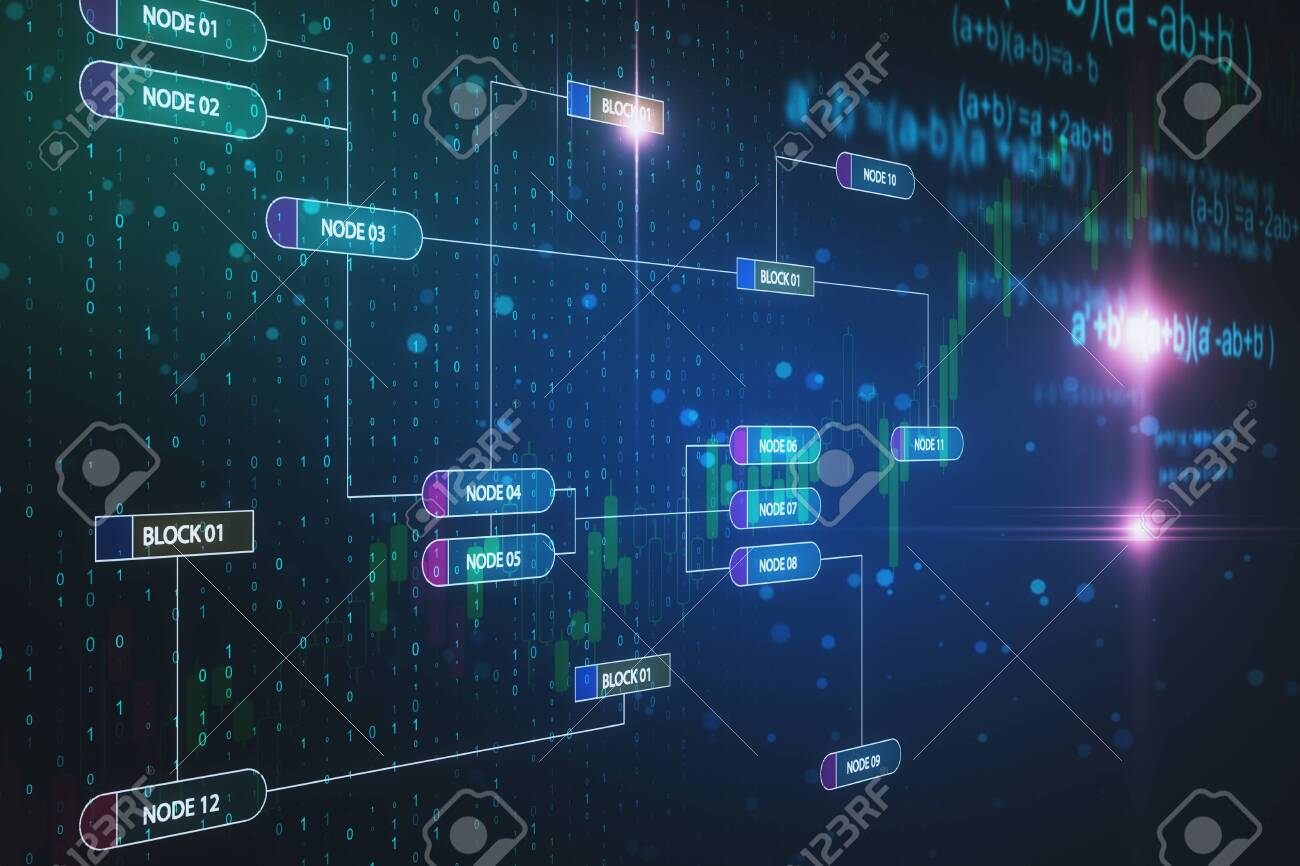 Creative Glowing Big Data Wallpaper With Digital Nodes Technology And Programming Concept 3d Rendering