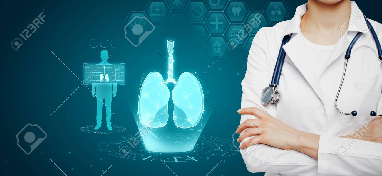Female doctor with abstract glowing blue medical lungs interface background with icons. Medicine and innovation concept. Multiexposure - 129066664