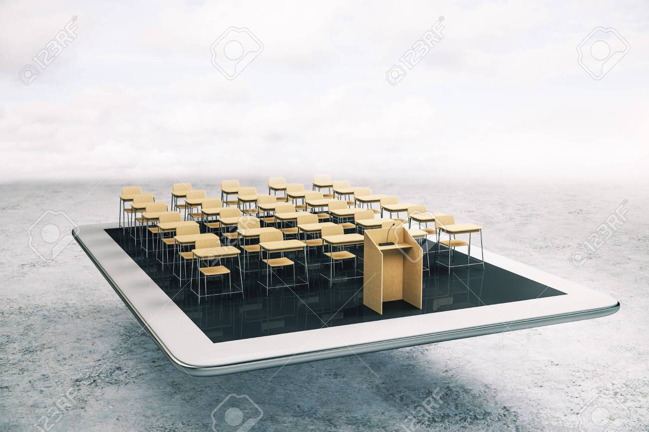 Education and webinar concept with wooden audience layout with tribune on white digital tablet. 3D Rendering - 130559205