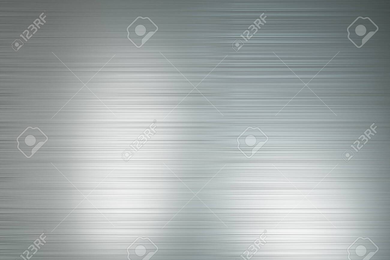 Abtsract background with light grey polished metal horizontal lines with light spots. 3D Rendering - 130559778
