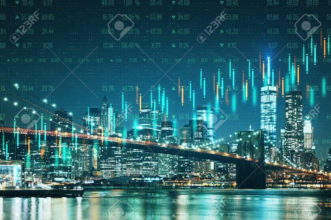 Abstract Night New York City Wallpaper With Forex Chart Trade