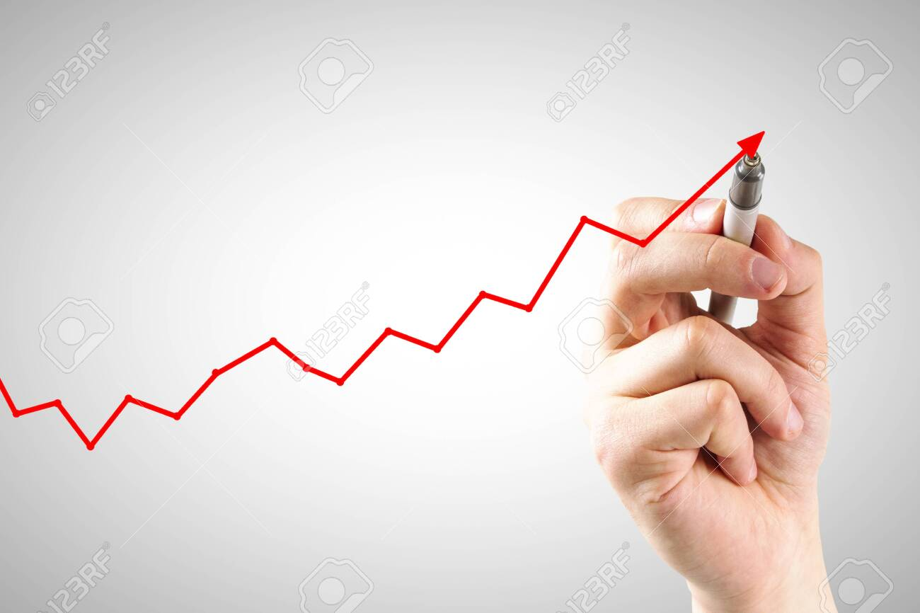 Hand drawing upward red arrow on subtle light background. Economic growth and recession concept - 131464917