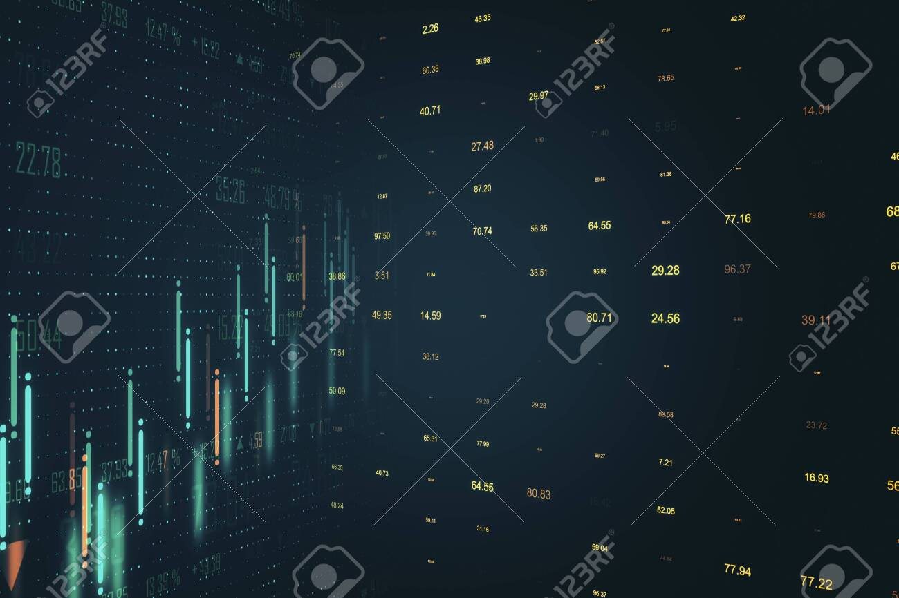 Creative glowing dark forex chart background. Invest and stats concept. 3D Rendering - 133137321