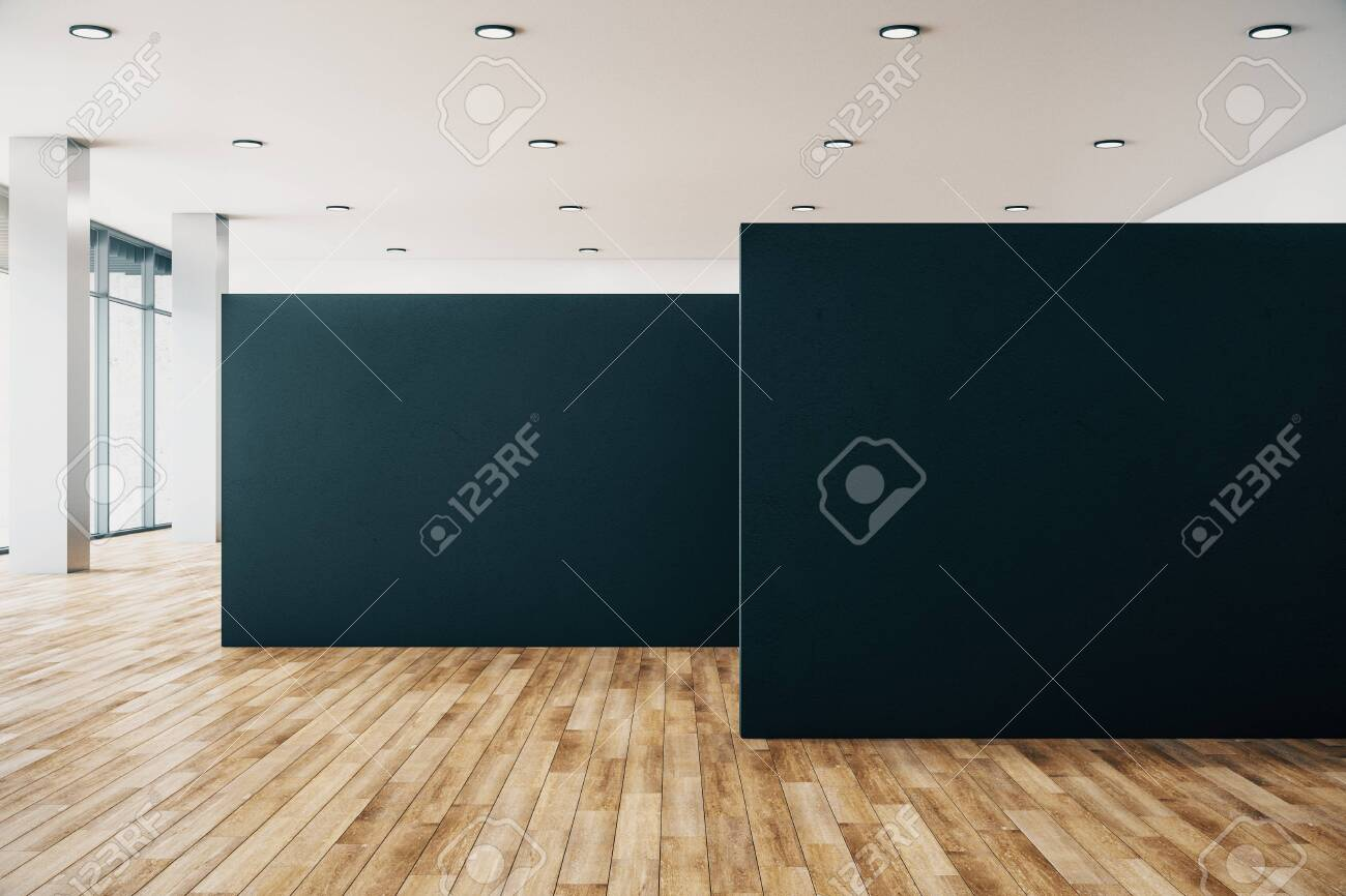 Clean gallery interior with empty poster, city view and daylight. Wooden floor. Mock up, 3D Rendering - 134137959