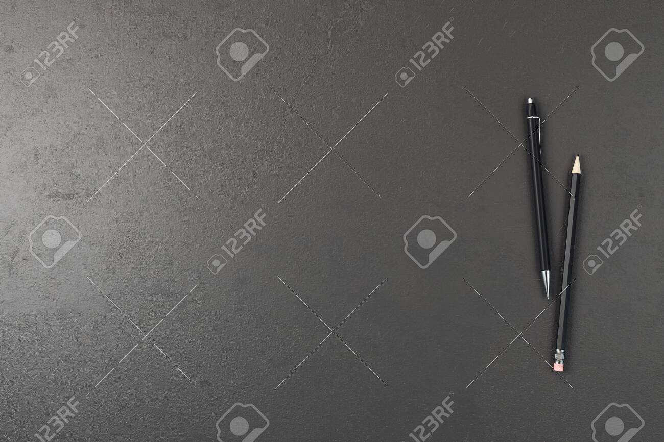 Office concrete desk table with pen and pencil. Top view with copy space. 3D Rendering - 135652371